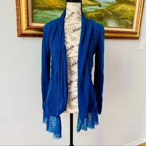 Anthro Knotted and Knotted blue cardigan